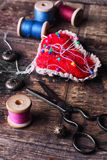 Pin cushion with needles Royalty Free Stock Image
