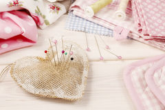 Pin cushion with sewing pins Royalty Free Stock Images