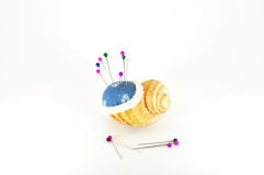 Pin cushion in shell. Pincushion in shell with pins isolated on white Stock Photo
