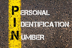PIN d'acronymes - numéro d'identification personnelle Photo stock