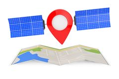 Pin d'indicateur de carte comme satellite au-dessus de carte abstraite pliée de navigation Image libre de droits