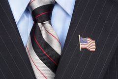 Pin da lapela da bandeira americana Foto de Stock