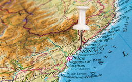 Pin dans la carte Images stock