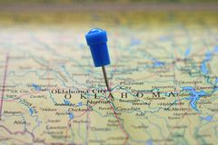 Pin dans la carte de l'Oklahoma Photos stock