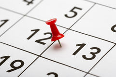 Pin on the date number 13. Stock Photography