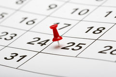 Pin on the date number 25. Royalty Free Stock Image