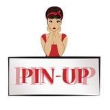 Pin- de fille se penche des coudes sur la bannière Maquette Image stock