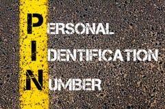 PIN de las siglas - número de identificación personal Foto de archivo