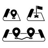 Pin de navigation sur des icônes de carte réglées Vecteur illustration libre de droits