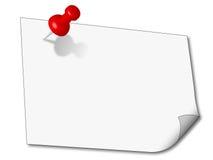 Pin del empuje 3D y una nota de papel Imagen de archivo libre de regalías