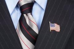 Pin del risvolto della bandiera americana Fotografia Stock
