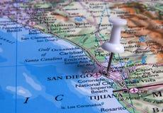 Pin in der Karte stockfotos