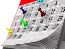 Pin, der wichtigen Tag auf Kalender markiert Abbildung 3D Lizenzfreie Stockfotografie