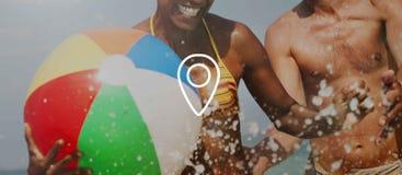 Pin Distance Marker Navigation Positioning-Konzept stockfotos