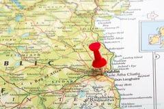 Pin do mapa de Dublin fotos de stock