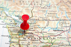 Pin do mapa de Seattle Fotos de Stock Royalty Free