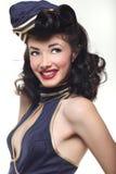 Pin do marinheiro acima da menina retro do estilo Imagens de Stock Royalty Free