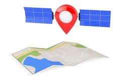 Pin do ponteiro do mapa como o satélite sobre o mapa abstrato dobrado da navegação Imagens de Stock Royalty Free