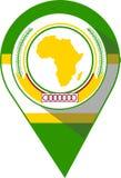 Pin en el color de la bandera de unión africana foto de archivo libre de regalías