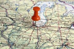 Pin en la localización de Chicago Foto de archivo