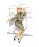 Pin encima de la muchacha militar Foto de archivo
