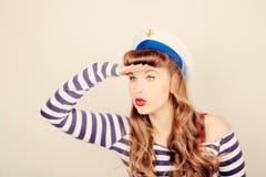 Pin encima de la mujer del marinero Foto de archivo libre de regalías
