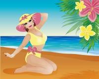 Pin encima de las flores de la muchacha y de la palma del verano Imagen de archivo