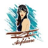 Pin encima del emblema cómico retro del vintage de la belleza del ejército de la aviación del piloto de la muchacha Foto de archivo libre de regalías