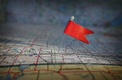Pin flag and map Stock Image