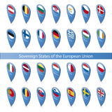 Pin flags of the European Union vector illustration