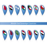 Pin flags of the Middle East Sovereign Countries Royalty Free Stock Photography