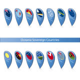 Pin flags of Oceania Sovereign Countries. Pins with the flags of Oceania Sovereign Countries isolated on white background in isometric perspective Stock Photography