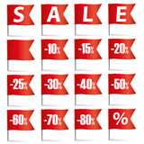 Pin Flags Sale Set rosso Immagine Stock