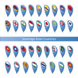 Pin flags of the Sovereign Asian Countries Stock Image