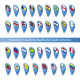 Pin flags of the Sovereign Countries North and South America Stock Photography