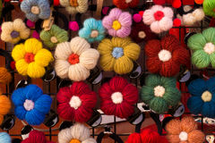 Pin flowers. Made from a yarn Stock Images