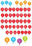 Pin Font. Colorful pin, pins alphabet font,Caps on royalty free illustration