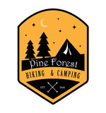 Pin Forest Hiking et logo de camping Images stock