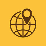The pin on globe icon. Travel and map, navigation symbol. Flat Stock Image