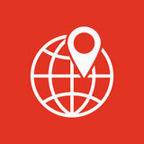 The pin on globe icon. Travel and map, navigation symbol.  Royalty Free Stock Photo
