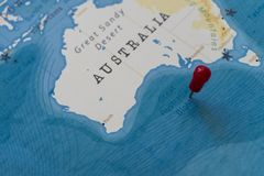 A pin on great australian bight in the world map stock photography
