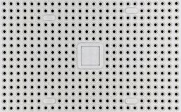 Pin Grid Array Socket - PGA. Close overhead view of a Pin Grid Array PGA socket commonly used for connecting Central Processing Units CPUs into the main Stock Photo