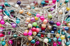 Pin. Group of colorful pins background Stock Photo