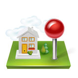 Pin and house with land isolated Royalty Free Stock Photos
