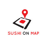 Pin icon. Red map pin set on abstract sushi piece.isolated on white background Royalty Free Stock Photos