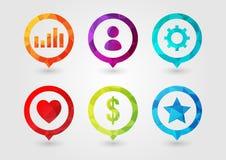 Pin Icon stellte für Geschäft ein Benutzer-Einstellungs-Diagramm-Geld-Stern Favouri Lizenzfreie Stockfotos