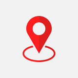 Pin icon vector. Location sign in flat style  on white background. Navigation map, gps concept Stock Images