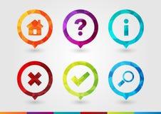 Pin Icon voor zaken met een textuur die van de pixeldiamant wordt geplaatst Royalty-vrije Stock Afbeelding