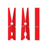 Pin. Indoor and outdoor red clothespin on a white background. Clothespin from different sides. Vector illustration Stock Photo
