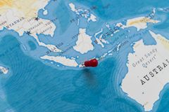 A pin on jakarta, indonesia in the world map.  royalty free stock image